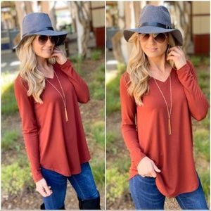 Brick Long Sleeve V Neck Tunic